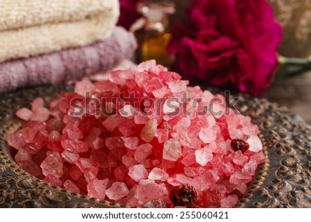 Stack of red sea salt - stock photo