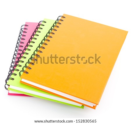 stack of ring binder book and notebook isolated on white - stock photo