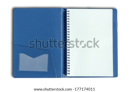 stack of ring binder book or blue notebook isolated on white bac - stock photo