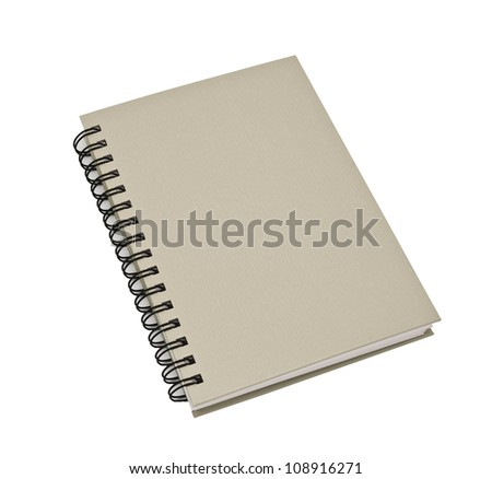 stack of ring binder book or gray notebook isolated on white background - stock photo