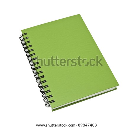 stack of ring binder book or green notebook isolated on white background - stock photo