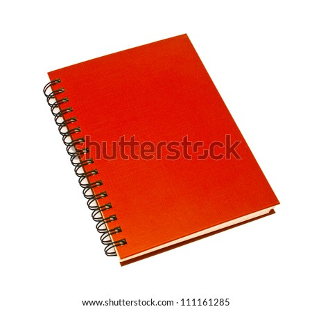 stack of ring binder book or red notebook isolated on white background - stock photo