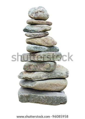 stack of rough stones isolated on white background - stock photo