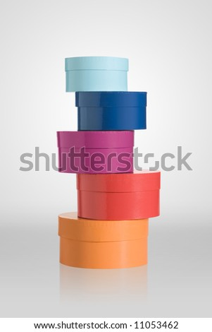 Stack of round boxes - stock photo