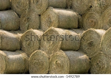 Stack of round hay bales