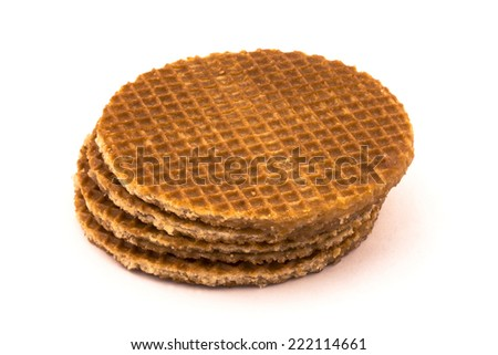 Stack of round ruddy waffles. Isolated on white background with shadow  - stock photo