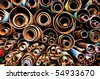 Stack of rusty steel pipes - stock photo