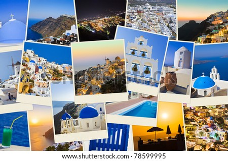 Stack of Santorini shots  - nature and travel background (my photos) - stock photo