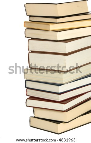 Stack of school books on white background