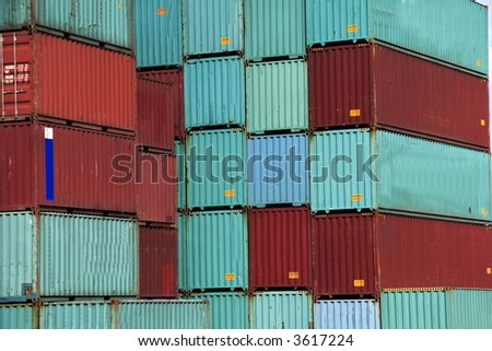 Stack of Sea Container in the port of Hamburg. It is the central hub for trade with Eastern and Northern Europe. - stock photo