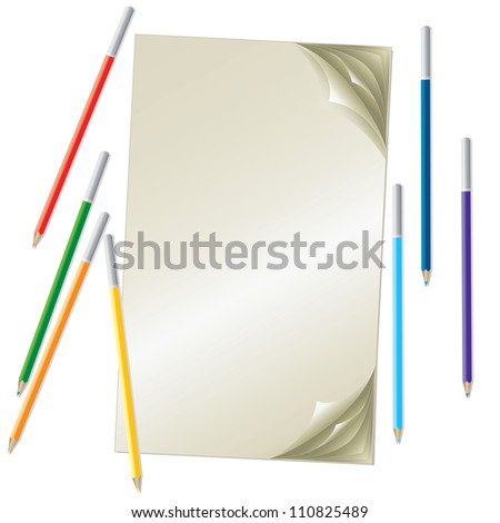 stack of sheets and bright pastels - stock photo