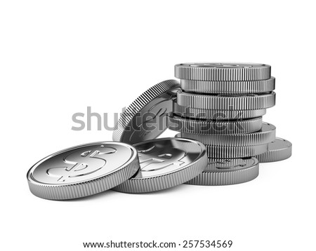 Stack of silver coins isolated on white. 3d illustration high resolution - stock photo