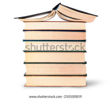 Stack of six old books with an open top isolated on white background - stock photo