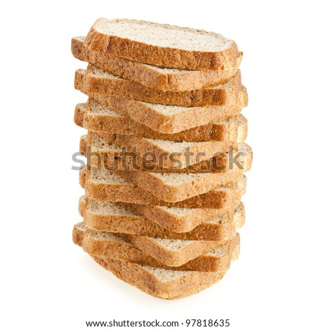 stack of sliced bread on a white background sandwich - stock photo