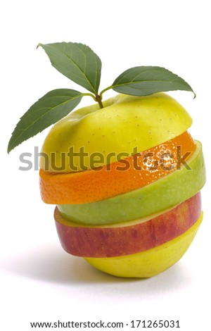 stack of sliced fresh mixed fruits over white background - stock photo