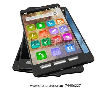 Stack of Smartphones - stock photo