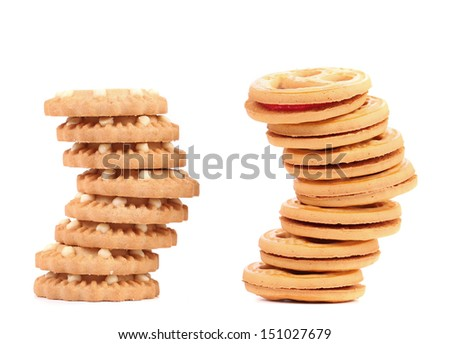 Stack of smile biscuits and another.