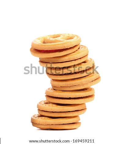 Stack of smile biscuits. Isolated on a white background.
