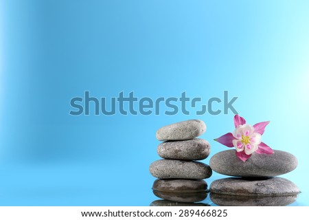 Stack of spa stones with flowers on blue background - stock photo