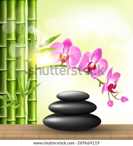 Stack of spa stones with orchid pink flowers and bamboo and sunlight on light-green background