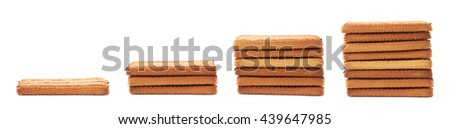 Stack of square cookies with jam stripes isolated over the white background