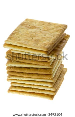 Stack of square crackers isolated on white background