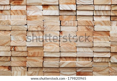 Stack of square wood planks for furniture materials - stock photo