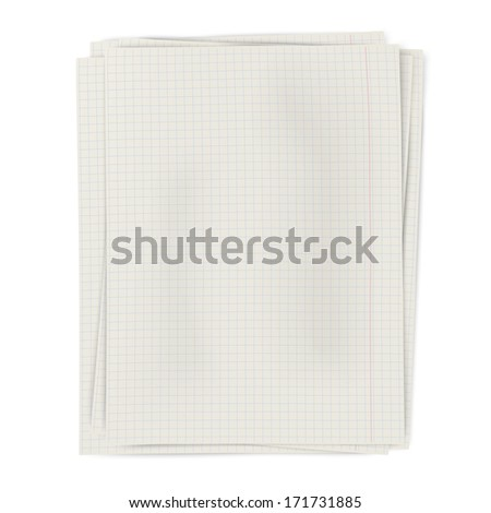 Stack of squared sheets of paper isolated on white background. Raster version illustration. - stock photo