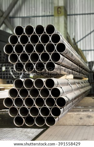 Stack of stainless steel pipes