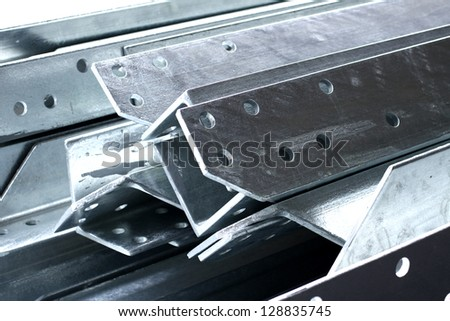 Stack of Steel angles in warehouse