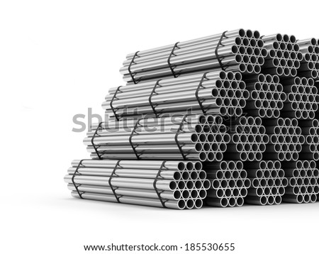 Stack of Steel Metal Tubes isolated on white background - stock photo