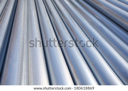 Stack of steel pipes  - stock photo