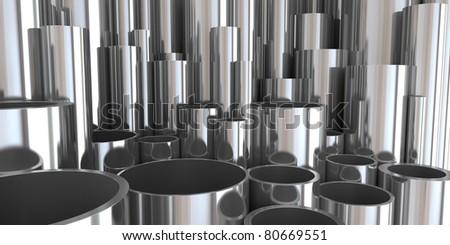 stack of steel tubing 3d rendering. good - stock photo