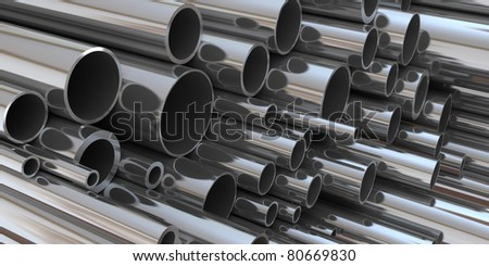 stack of steel tubing 3d rendering. good