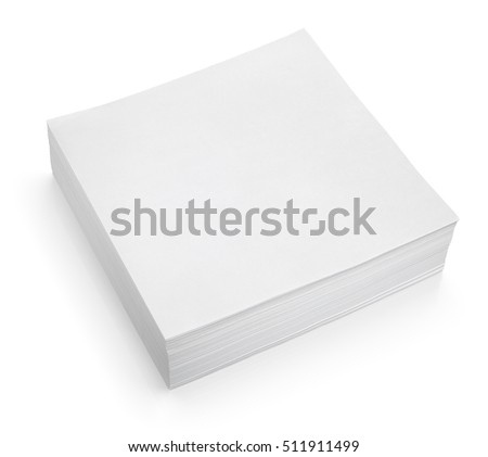 Stack of stick note (white paper) isolated on white with clipping path