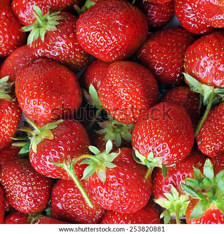 stack of strawberry on the tablle - stock photo