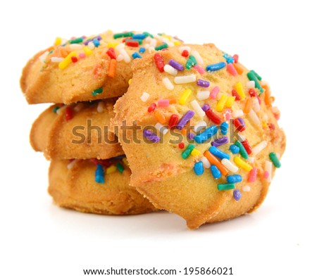 Stack Of Sugar Cookies Over White Background  - stock photo