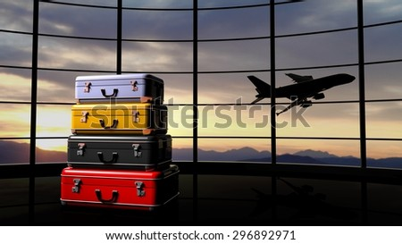 Stack of suitcases beside airpot window with sunset and airplane in flight - stock photo