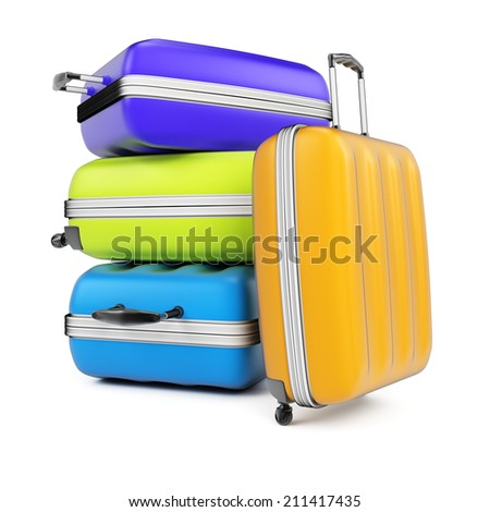 Stack of suitcases isolated on white background. 3d rendering image - stock photo
