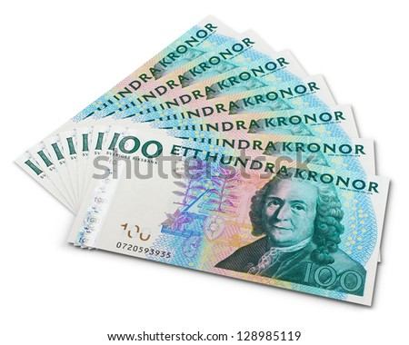 Stack of 100 swedish krona banknotes isolated on white background - stock photo