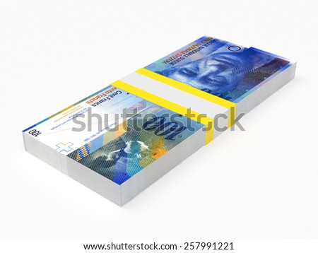 Stack of Swiss Franc banknotes on white isolated background - stock photo