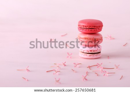 stack of tasty colorful macarons with flowers