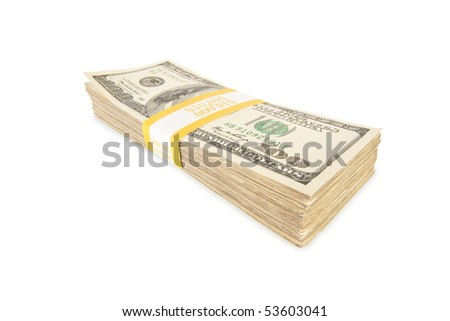 Stack of Ten Thousand Dollar Pile of One Hundred Dollar Bills Isolated on a White Background. - stock photo