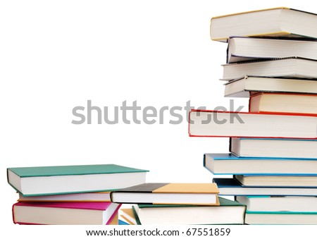 Stack of textbooks section - stock photo