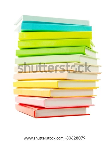 Stack of the books laying isolated on white - stock photo