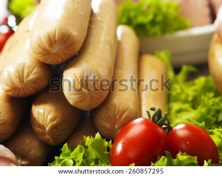 stack of the chicken sausage - stock photo