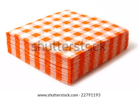 Stack of the paper napkins on white background. - stock photo