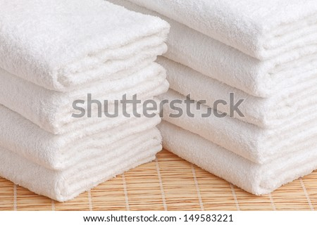 Stack of the white towel - stock photo