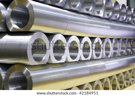 Stack of thick crossing pipes abstract perspective - stock photo