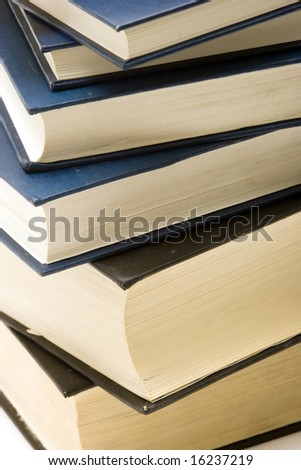 Stack of thick school books